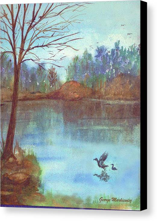 Lake And Ducks Canvas Print featuring the print Lake In The Morning by George Markiewicz