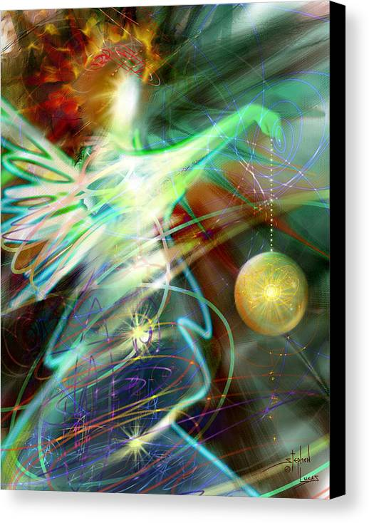 Angel Canvas Print featuring the digital art Lite Brought Forth By The Archkeeper by Stephen Lucas