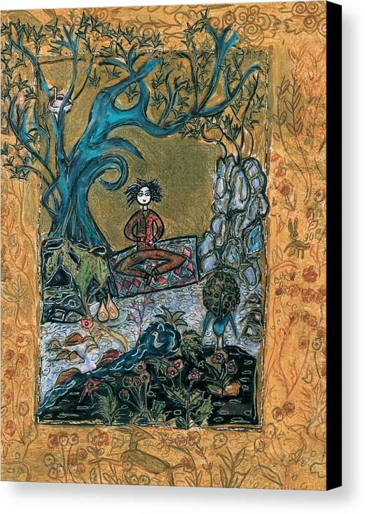 Trees Canvas Print featuring the painting Meditating Master With Bird In Nest by Maggis Art