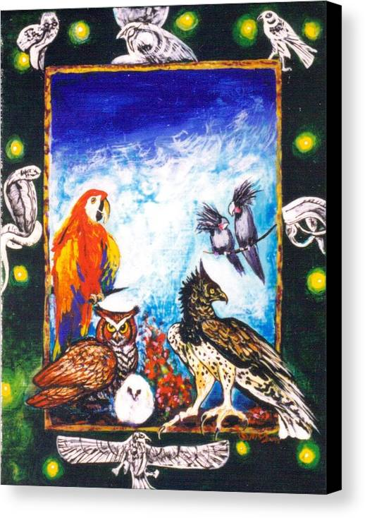 Canvas Print featuring the painting Parrot And Eagle by Christine McGinnis