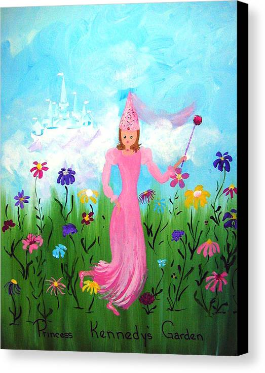 Children Canvas Print featuring the painting Princess Kennedy's Garden by Sandi Stonebraker