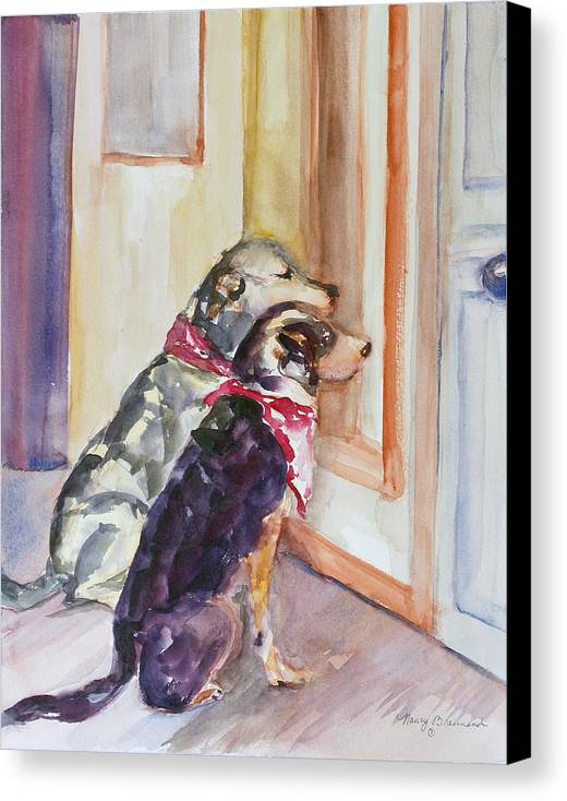 Two Dogs Canvas Print featuring the painting Waiting For Mary by Nancy Brennand