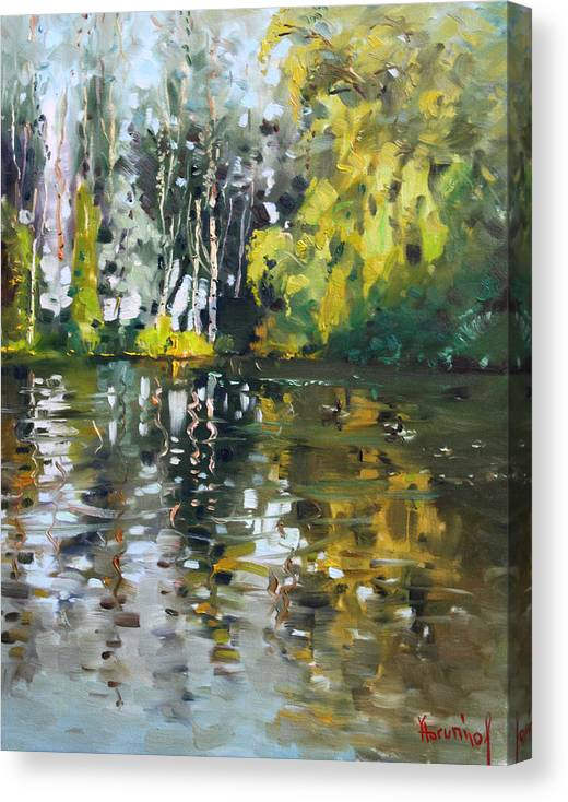 Landscape Canvas Print featuring the painting A Quiet Afternoon Reflection by Ylli Haruni