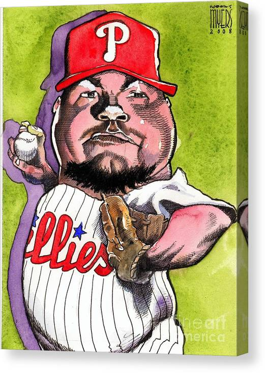 Sports Art Canvas Print featuring the painting Joe Blanton -phillies by Robert Myers