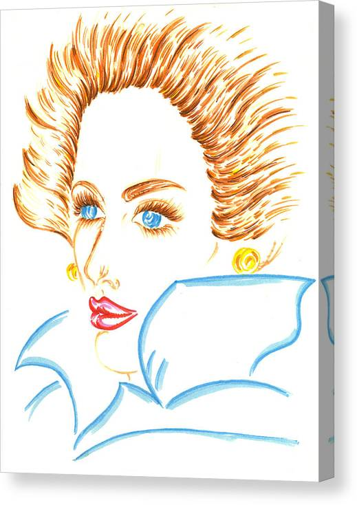 Eve Collection Canvas Print featuring the drawing Lady Of The Fall Season by Judith Herbert