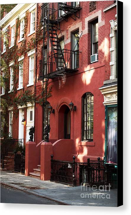Building Canvas Print featuring the photograph Brownstone by John Rizzuto