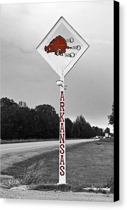 Arkansas Canvas Print featuring the photograph Hog Sign by Scott Pellegrin