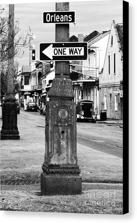 Orleans One Way Canvas Print featuring the photograph Orleans One Way by John Rizzuto