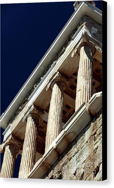 Temple Of Athena Nike Columns Canvas Print featuring the photograph Temple Of Athena Nike Columns by John Rizzuto