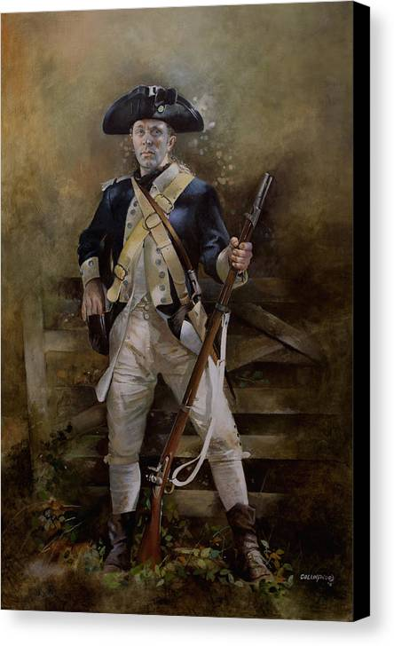 American War Of Independance Canvas Print featuring the painting American Infantryman C.1777 by Chris Collingwood