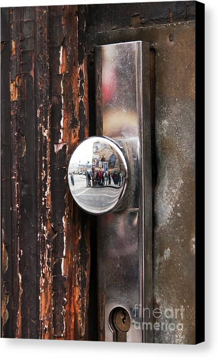Door Reflections Canvas Print featuring the photograph Door Reflections by John Rizzuto