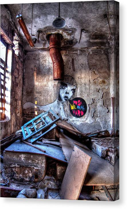 Urban Decay Canvas Print featuring the photograph Push Me Real Hard by Stamatis Gr