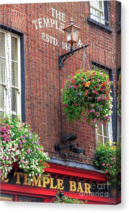 Temple Bar Flowers Canvas Print featuring the photograph Temple Bar Flowers by John Rizzuto