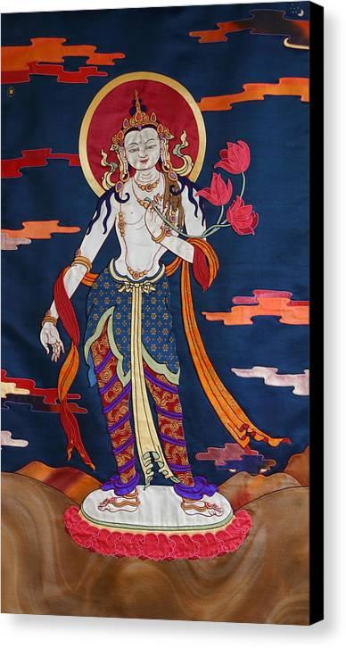 Padmapani. Thanka Canvas Print featuring the tapestry - textile Padmapani by Leslie Rinchen-Wongmo