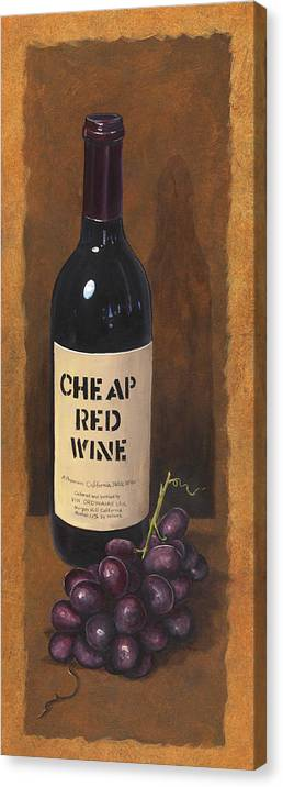 Wine And Grapes Painting Canvas Print featuring the painting Cheap Red Wine by Terri Meyer