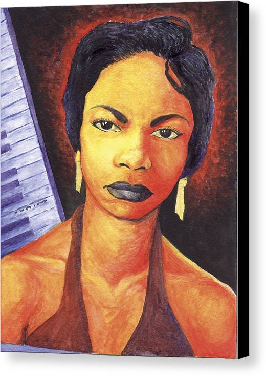 Nina Simone Canvas Print featuring the painting Alabamas Got Me So Upset by Marcus Anderson