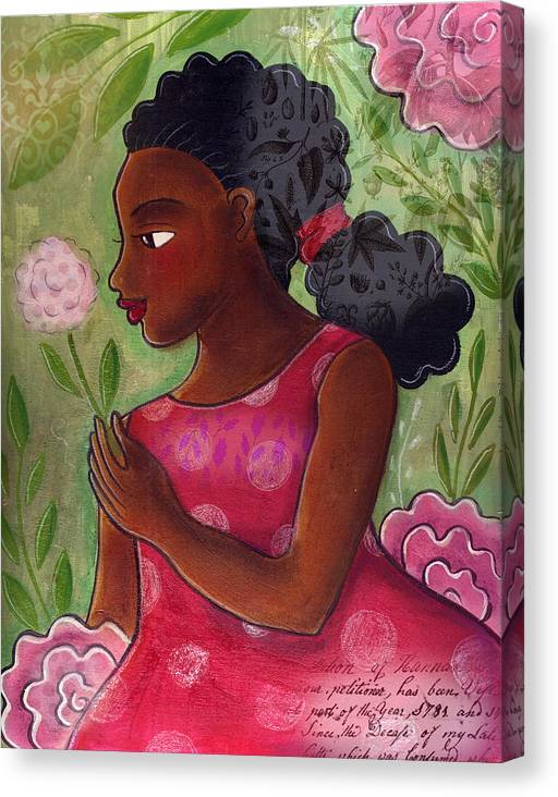African American Canvas Print featuring the mixed media Dandelion by Elaine Jackson
