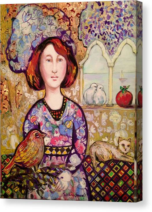 Photo Stream Canvas Print featuring the painting Family Portrait by Marilene Sawaf