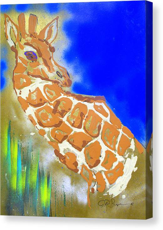 Impressionist Painting Canvas Print featuring the painting Giraffe by J R Seymour
