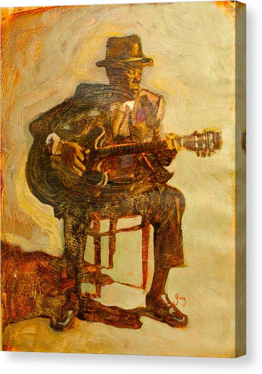 John Lee Hooker Canvas Print featuring the painting John Lee Hooker by Michael Facey