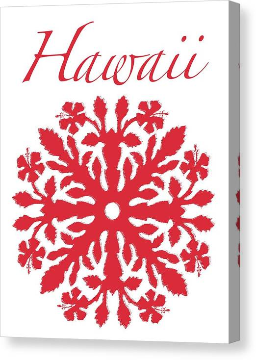 Hawaii T-shirt Canvas Print featuring the digital art Hawaii Red Hibiscus Quilt by James Temple