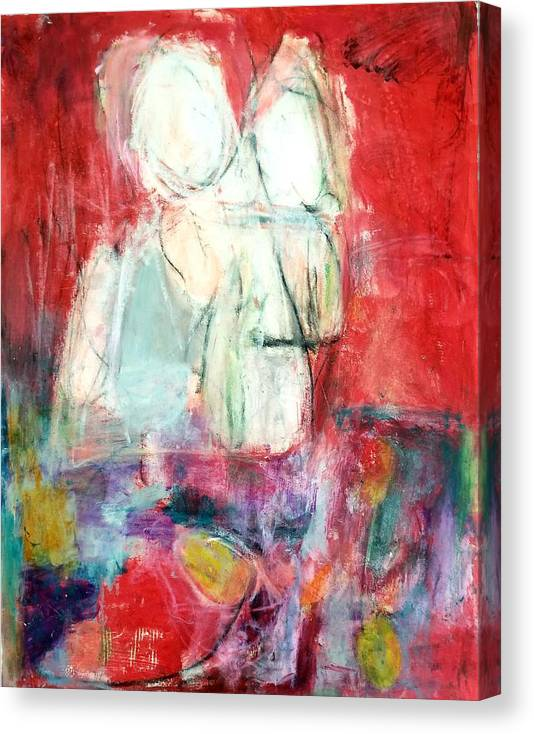 Red Canvas Print featuring the painting Tete-a-tete by Patricia Byron