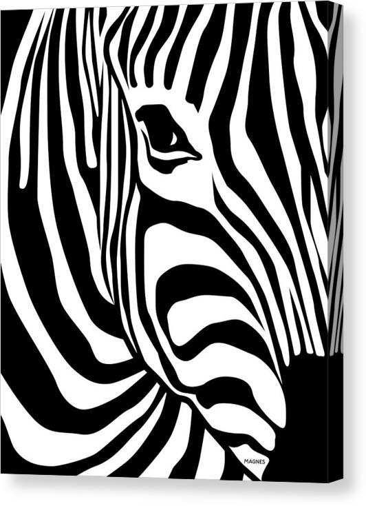 Zebra Canvas Print featuring the digital art Zebra by Ron Magnes