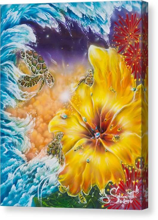 Aloha! Honu Hawaii Art Hibiscus Coral Reefs Flowers Floral Reefs Canvas Print featuring the painting Wave of the Honu by Joel Salinas III