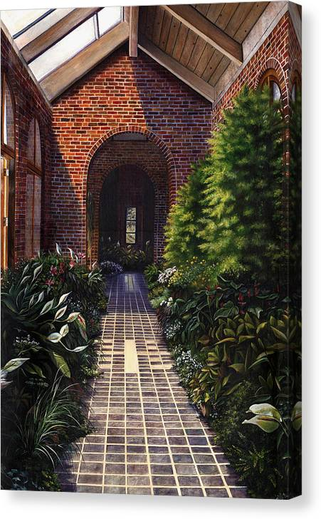Greenhouse At Kingwood Center In Mansfield Ohio Canvas Print featuring the painting Kingwood by Terri Meyer