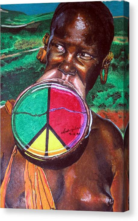 Africa Canvas Print featuring the painting Plains of Peace by Andre Ajibade