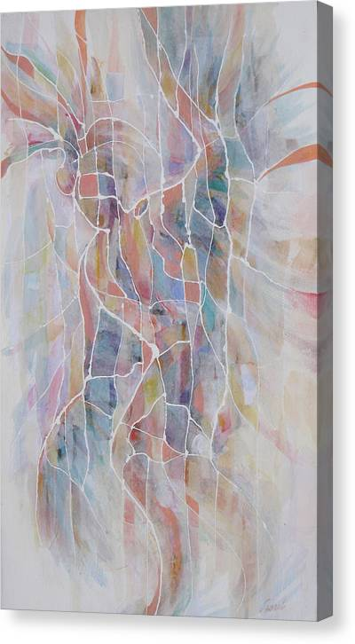 Indian Mixed Media Canvas Print featuring the painting Indian Dance Number One by Don Trout