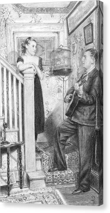 Grand Father Playing The Guitar For My Great Aunt Over 60 Canvas Print featuring the drawing The Serenade by Douglas Kochanski