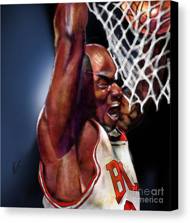 Michael Jordan Canvas Print featuring the painting Eclipsing The Moon - Jordan by Reggie Duffie