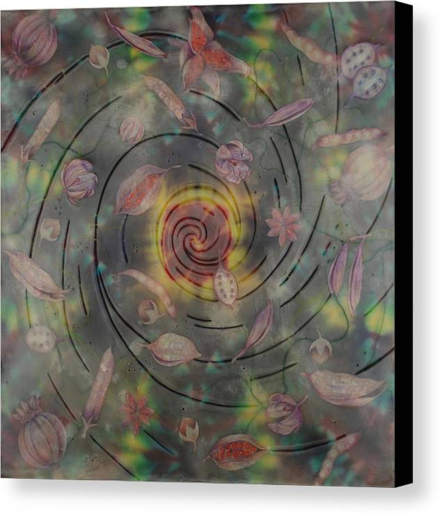 Canvas Print featuring the mixed media 33 Pods About 33 Women by Elizabeth Comay