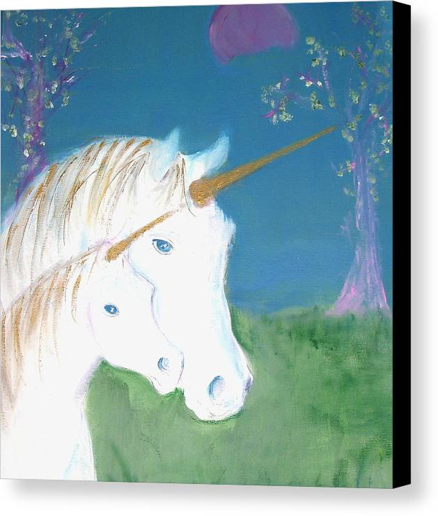 Magic Landscape Canvas Print featuring the painting Amid The Unicorns by Michela Akers