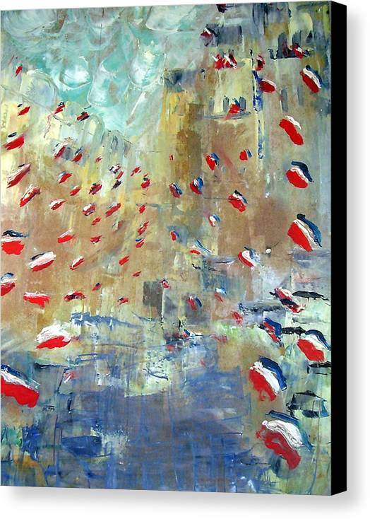 Patriotism Canvas Print featuring the painting After Monet's Rue Montorgueil by Michela Akers
