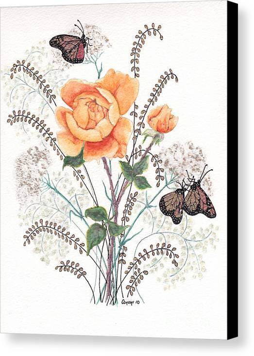 Roses Canvas Print featuring the painting As I Ride The Butterfly by Stanza Widen
