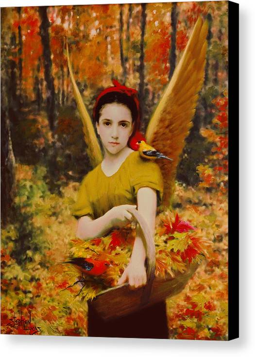 Angel Canvas Print featuring the painting Autumn Angels by Stephen Lucas