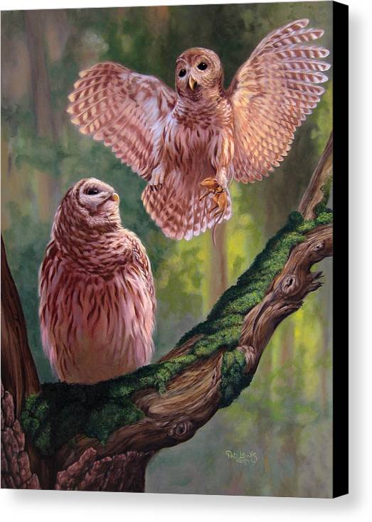 Owls Canvas Print featuring the painting Bringing Home Dinner by Pat Lewis