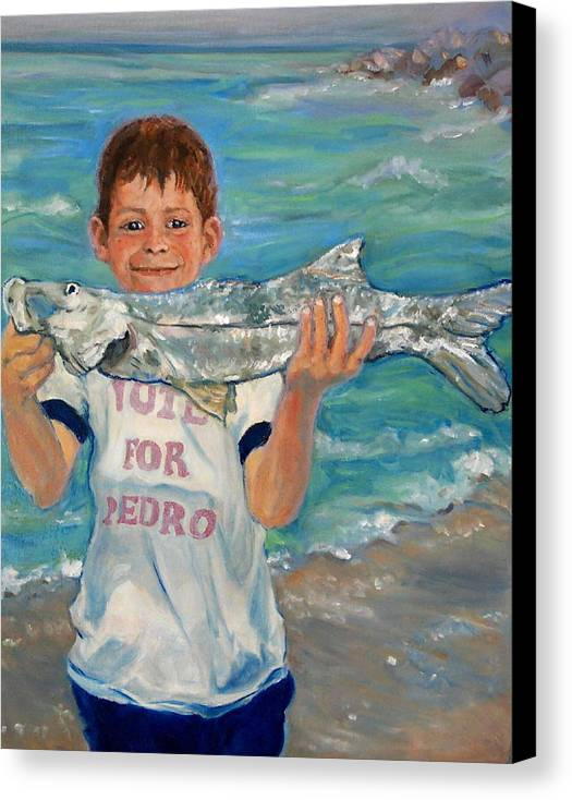 Portrait Canvas Print featuring the painting First Snook by Ruth Mabee