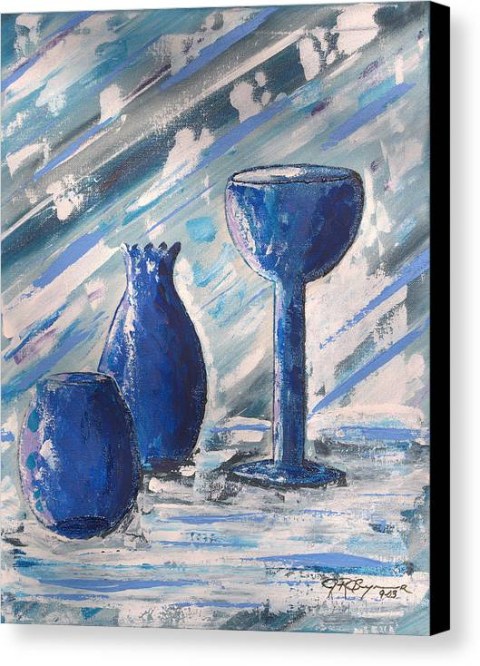 Vases Canvas Print featuring the painting My Blue Vases by J R Seymour