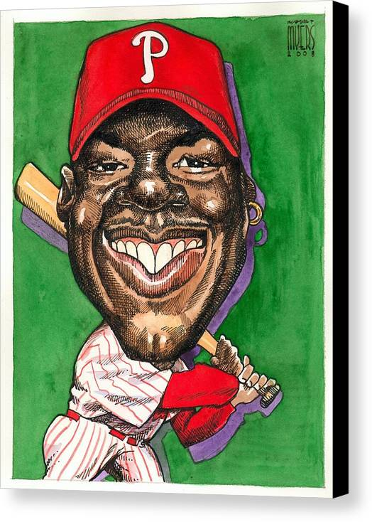 Sports Art Canvas Print featuring the painting Phillies by Robert Myers