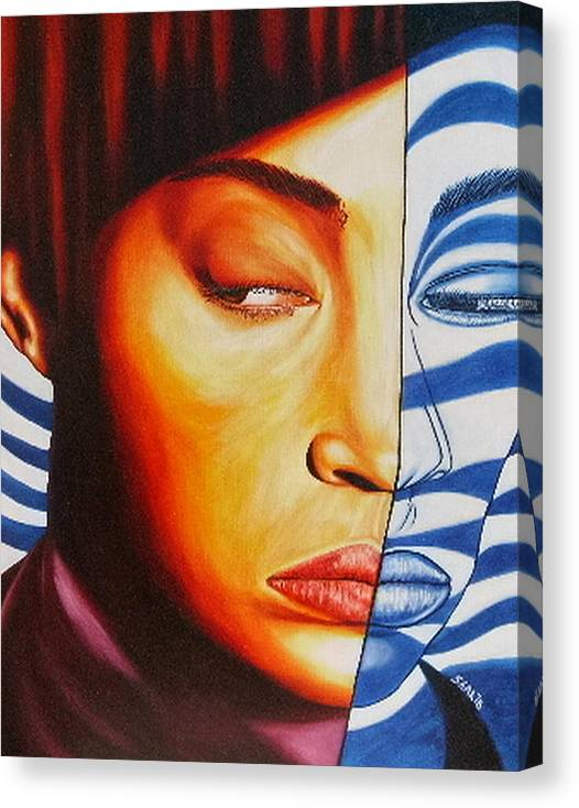 Portrait Canvas Print featuring the painting Intuition by Shahid Muqaddim
