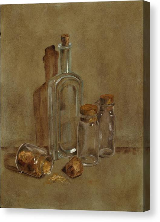 Still Life Canvas Print featuring the painting Glass Bottles by Betty Stevens