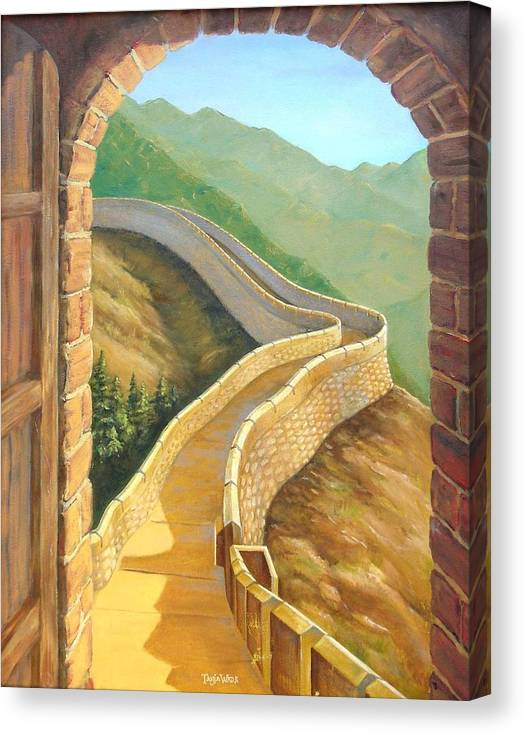 China Canvas Print featuring the painting It's A Great Wall by Tanja Ware