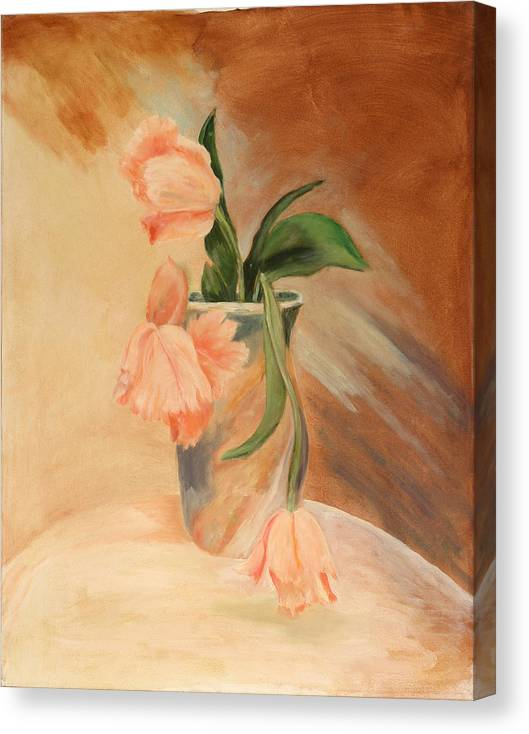 Floral Still Life Canvas Print featuring the painting Peach Tulips by Betty Stevens