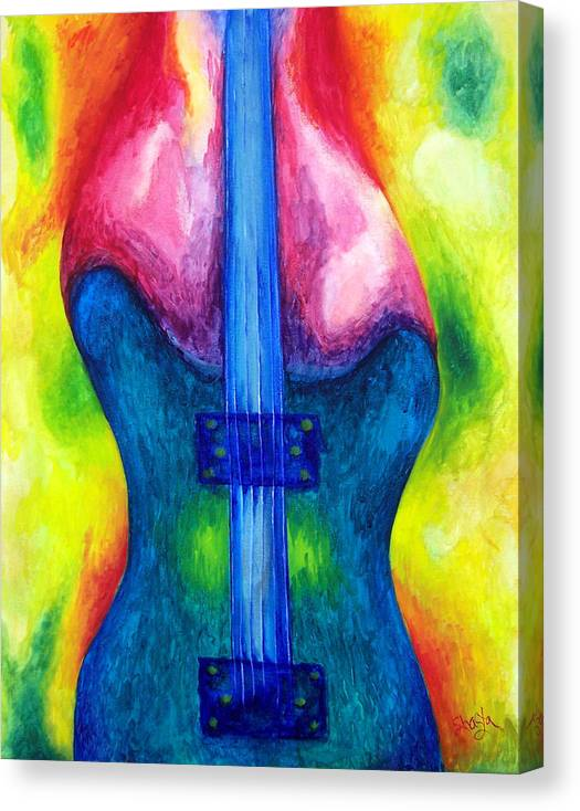 Vivid Contemporary Abstract Canvas Print featuring the painting Strung Out by Shasta Miller