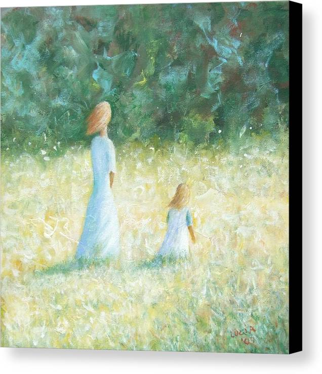 Mother And Child. Woods.fields. Sunlit Landscape. Canvas Print featuring the print Country Walk by Carl Lucia
