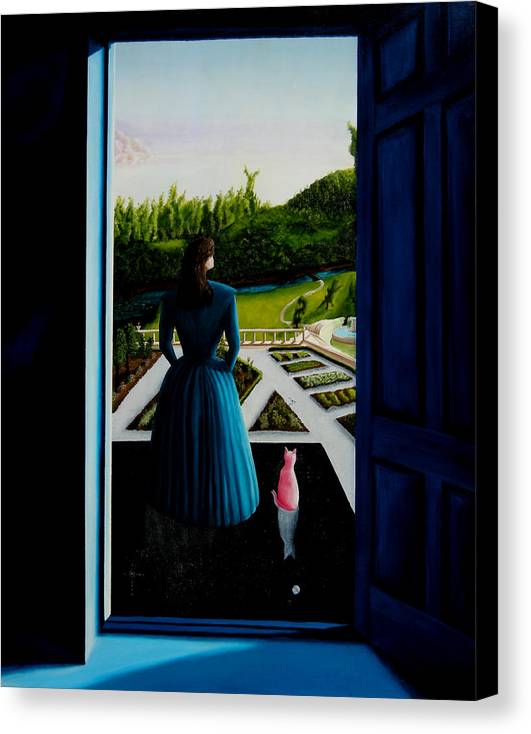 Oil Painting.blue Lady. Garden. Surreal Impressionism Canvas Print featuring the painting Blue Lady Thru The Door by Ivan Rijhoff