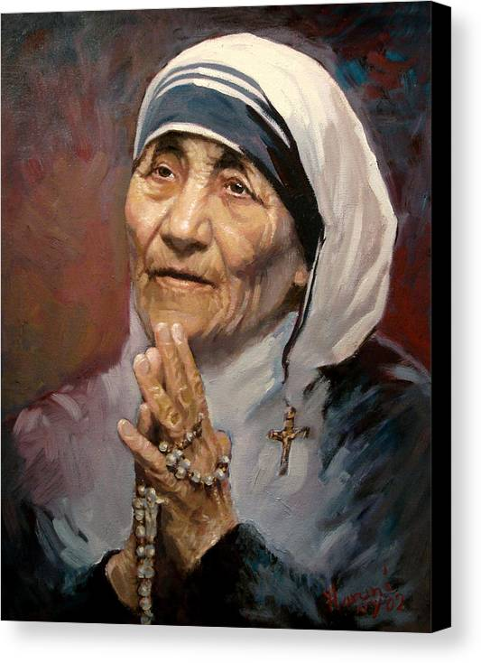 Mother Teresa Artwork Canvas Print featuring the painting Mather Teresa by Ylli Haruni